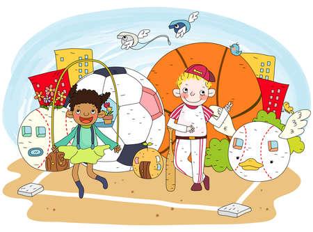 puerile: Representation of children playing in garden