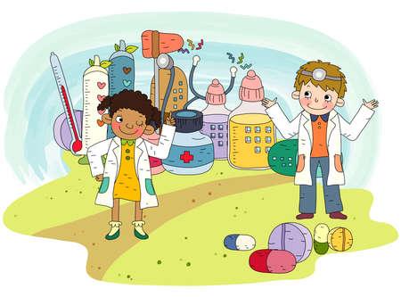 puerile: Representation of children dressed up doctor