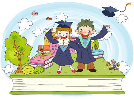 puerile: Representation of girl and boy in graduation gowns