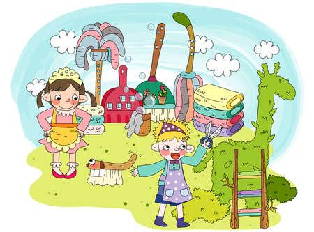 leisureliness: Representation of girls in garden