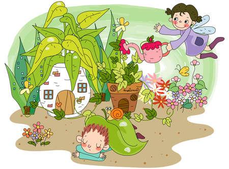 puerile: Representation of kids in garden
