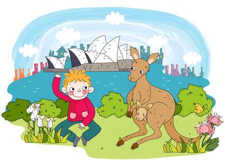 puerile: Representation of boy sitting by kangaroo