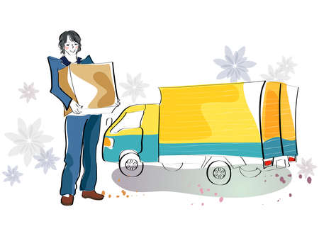 man carrying box: Representation of man carrying box by truck LANG_EVOIMAGES
