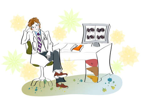 legs crossed at knee: Representation of doctor contemplating
