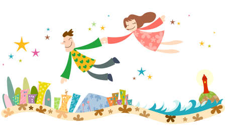 leisureliness: Representation of couple flying in air