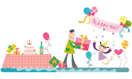 cadeau anniversaire: Repr�sentation de p�re donnant cadeau d'anniversaire � la fille