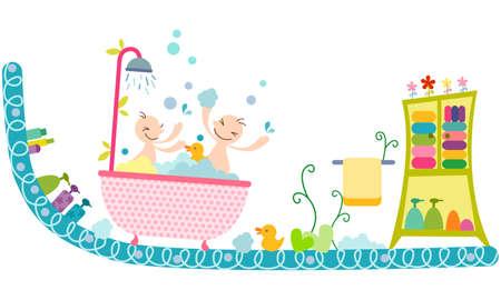 enhanced healthy: Representation of babies having bath