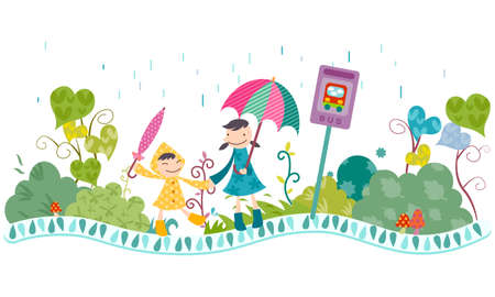 joyfulness: Representation of children playing in rain LANG_EVOIMAGES