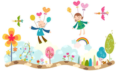 joyousness: Representation of boy and girl flying in air