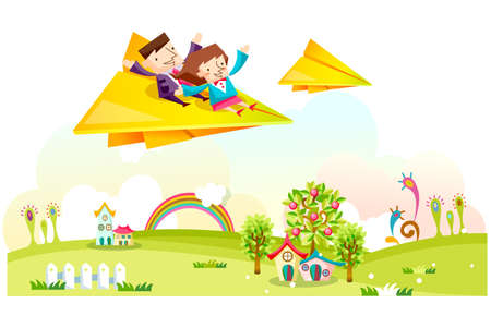 leisureliness: Representation of man and woman flying on paper airplane