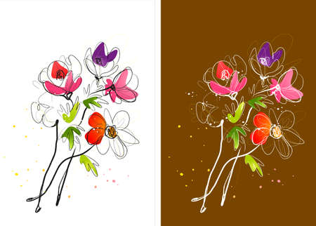 digitally enhanced or generated: Representation of bunch of flowers