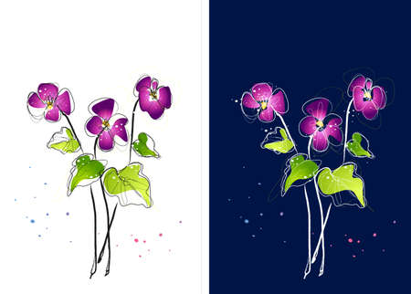 digitally enhanced or generated: Representation of purple flowers