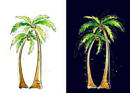digitally enhanced or generated: Representation of coconut palm trees