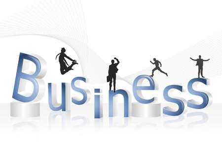 men standing: Four men standing on word business