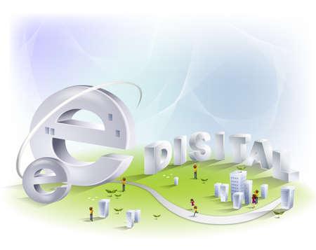 distal: Internet 'e' símbolo en el jardín con la palabra distal