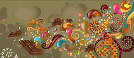 Illustration of colorful design with cadbury