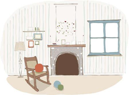ball of wool: Ball of wool  on armchair