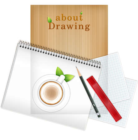 things that go together: Coffee cup with pencil and ruler on blank note pad LANG_EVOIMAGES