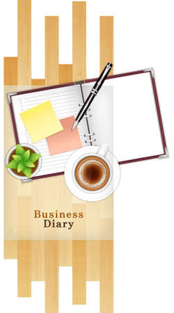ballpen: Coffee cup,ballpen and potted plant on diary,directly above