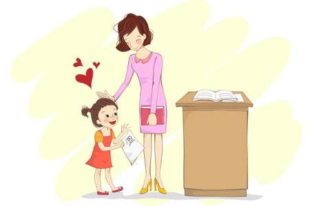 classwork: Girl holding classwork with 100 marks from teacher