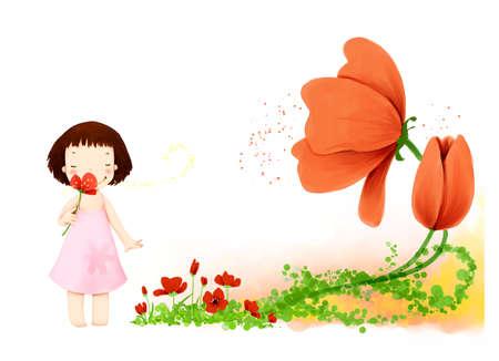 puerile: Representation of girl smelling a flower