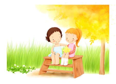 puerile: Representation of girls sitting on bench