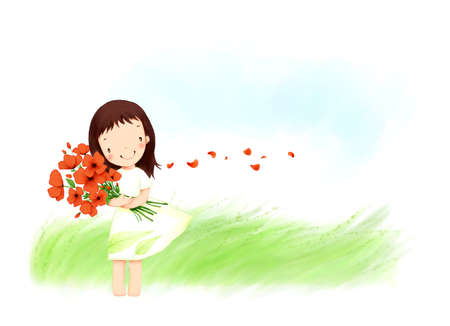 puerile: Representation of girl holding bunch of flowers LANG_EVOIMAGES