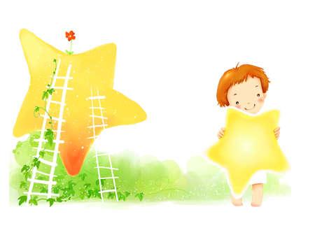 puerile: Representation of girl holding star
