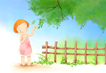 puerile: Representation of girl standing by fence