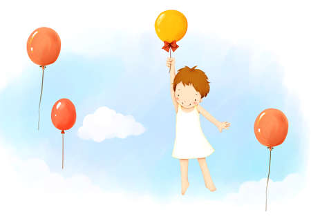 puerile: Representation of girl hanging on balloons