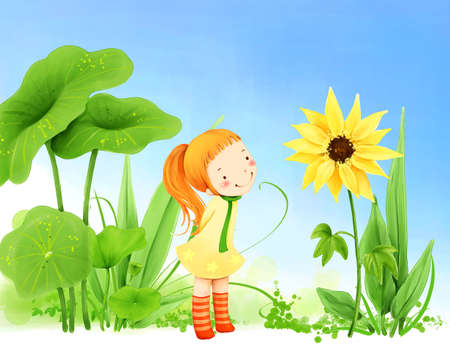puerile: Representation of girl looking at sunflower