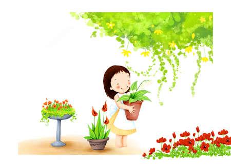 puerile: Representation of girl holding a flower pot
