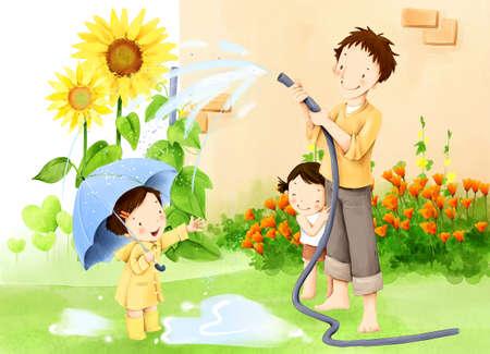 puerile: Representation of man watering flowers