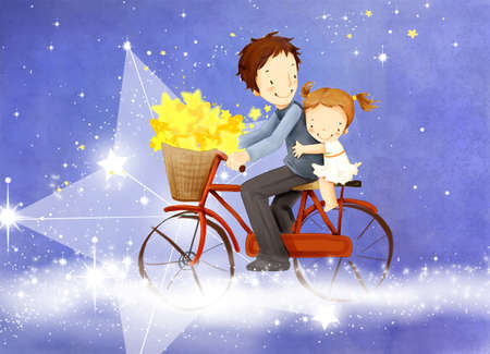 puerile: Representation of girl sitting behind father on bicycle