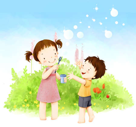 puerile: Representation of brother and sister blowing soap bubbles LANG_EVOIMAGES