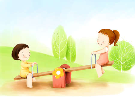 puerile: Representation of children playing on seesaw LANG_EVOIMAGES