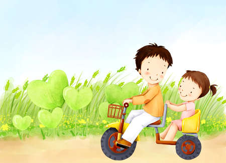 puerile: Representation of brother and sister Riding on a Tricycle LANG_EVOIMAGES