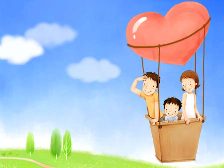 puerile: Representation of parents with son in hot air balloon