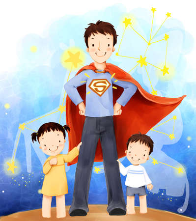 puerile: Representation of father with son and daughter in superman costume