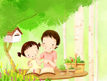 puerile: Representation of daughter with mother reading book LANG_EVOIMAGES