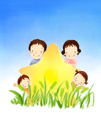 puerile: Representation of family holding a star