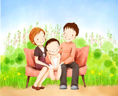 puerile: Representation of a girl sitting together with parents on sofa