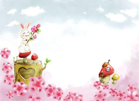 western script: Representation of rabbit sitting on mushroom