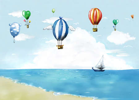 digitally enhanced or generated: Representation of hot air balloons and sailboat
