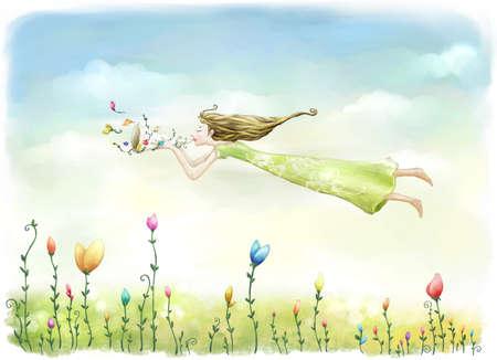 bugle: Representation of woman playing bugle in midair