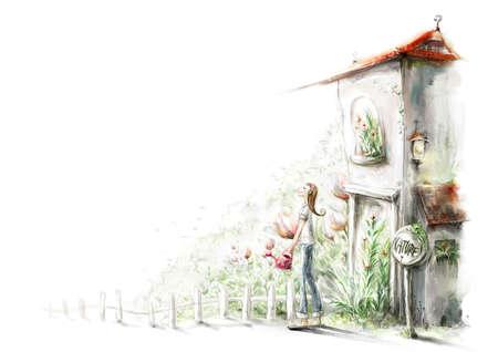 regando plantas: Representaci�n de las plantas de riego de la mujer LANG_EVOIMAGES