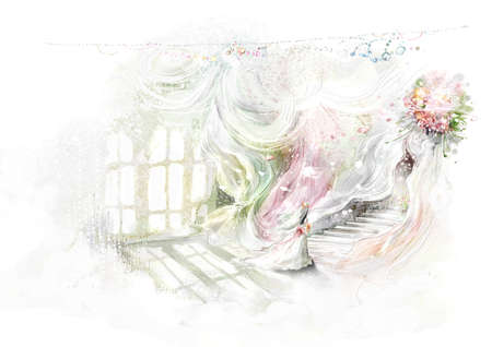 digitally enhanced or generated: Representation of girl walking in wedding dress LANG_EVOIMAGES