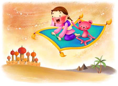 puerile: Representation of girl flying in carpet LANG_EVOIMAGES