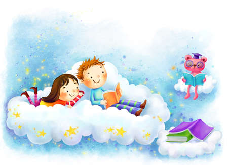 puerile: Representation of girl and boy reading book in clouds