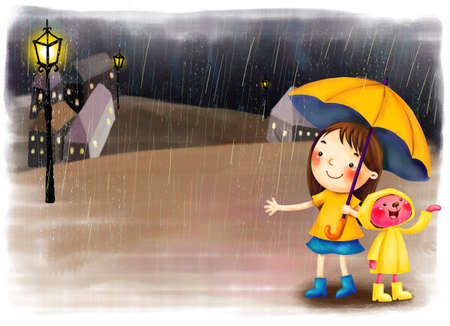 puerile: Representation of girl standing with umbrella in rain LANG_EVOIMAGES
